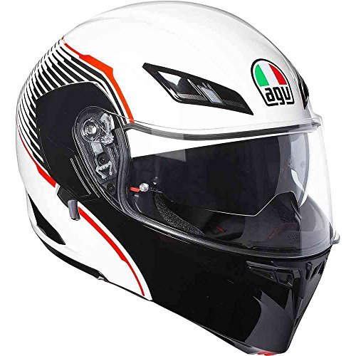 Desmontable Casco Modular AGV Compact ST Vermont Blanco Negro Rojo White Red Black Flip Up Helmet, bianco