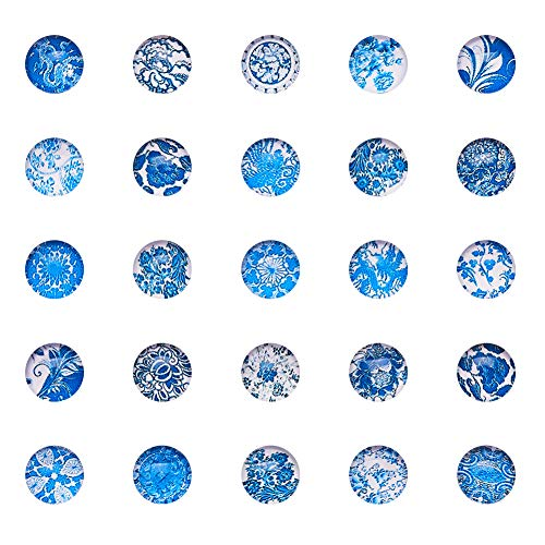 pandahall 1Box 200Stück Hälfte rund/Dome Glas Cabochons, Blue and White Floral, 10 mm Floral Dome