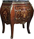 Casa Padrino Barock Kommode Mahagoni Braun Intarsien mit Marmorplatte B 73 cm, H 78 cm - Barock Kommode - Limited Edition