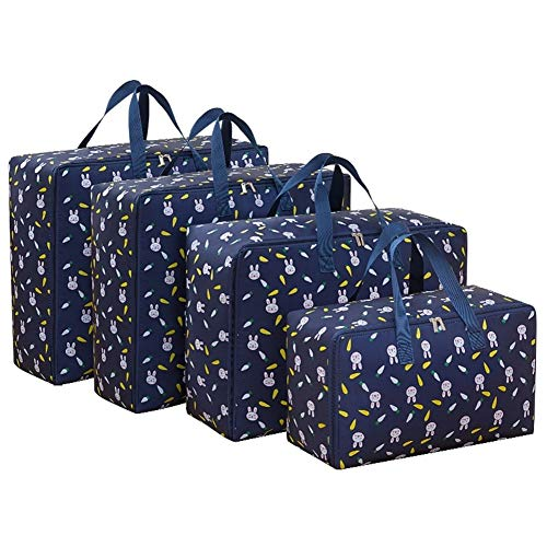 4 Teile/Satz Große Kapazität Oxford Aufbewahrungstasche M + L + 2 Stücke XL Closet Organizer Für Quilt Tuch Reisegepäck wasserdichte Container (Color : Dark Blue Rabbit) -