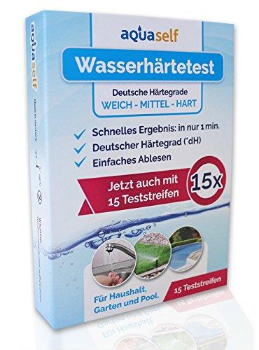 aquaself Wasserhärte Teststreifen (15 Stück) - einfach, schnell und präzise Wasserhärte messen in °dH - inkl. gratis E-Book