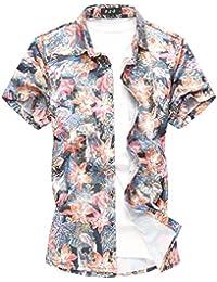 5a63b5ad104e9 MOGU Camisa Estampada de Flores para Hombres Camisa Casual de Manga Corta  con Botones