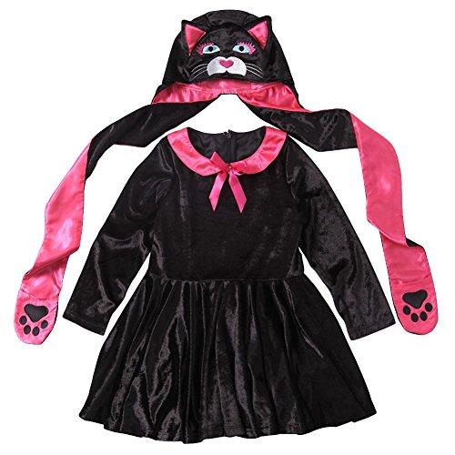 YouN 2 teile/satz Katze Rolle Spielen Halloween Cosplay Kinder Kleidung Kleid + Hut (S)