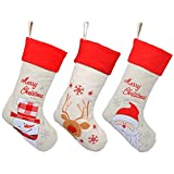 Art Beauty Christmas Stockings Set of 3 Burlap for Kids 43 CM Ornaments Classic Xmas Snowman Jolly Santa Red-nosed reindeer Goody gift Bags Decorations Decor