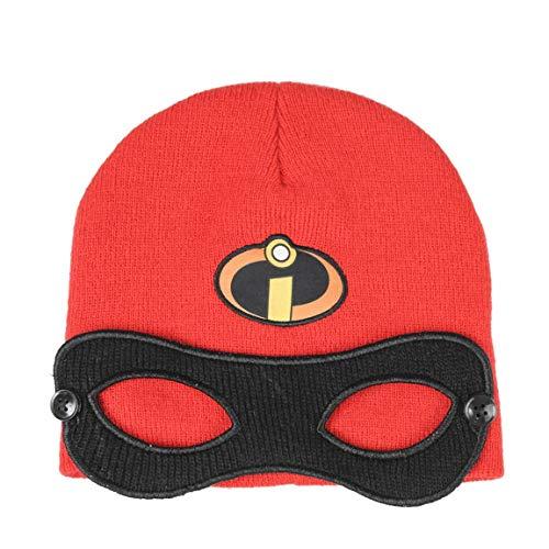 Disney gli incredibili - cappello berretto invernale con maschera - full print - bambina bambino - novità prodotto originale 2018-xx [ rosso - taglia unica]