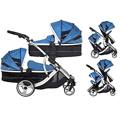 Kids Kargo Duellette 21 Combi Travel System Pram Double Pushchair (French Aqua)  iSafe