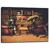 Alien vs. Predator Schach Motiv auf Leinwand im Format: 80x60 cm. Hochwertiger Kunstdruck als Wandbild. Billiger als ein Ölbild! ACHTUNG KEIN Poster oder Plakat!