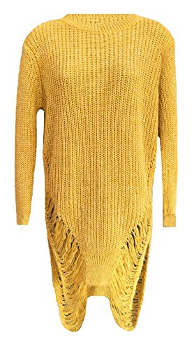 SugerDiva Femmes tricoté Ripped Torn Jumper robe Moutarde