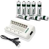 GPISEN NI-MH AAA1100mAh 8  piezas Batería Recargable  con Cargador(8 Bay/ranura) para  Ni-MH/Ni-CD AA/AAA