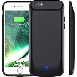 Vobon Coque Batterie iPhone 6 / 6S, 5000mAh Coque Chargeur de Protection Batterie Externe Magnétique Portable Rechargeable pour Apple iPhone 6 / 6S [4.7 Pouces] (Noir)
