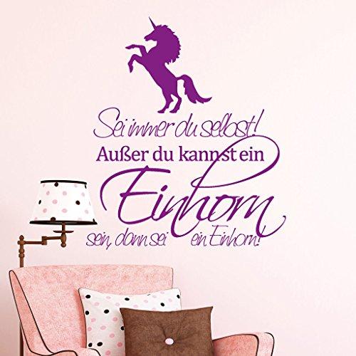 """Wandtattoo Loft Schriftzug """"Sei immer du selbst! Außer du kannst ein Einhorn sein, dann sei ein Einhorn"""" mit Einhorn / 54 Farben / 3 Größen / türkis / 40 cm Breite x 46 cm Höhe"""