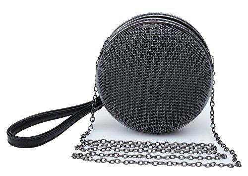 Good Night Femmes Maille métallique mini Rond Crossbody sac à main avec Sangle en cuir
