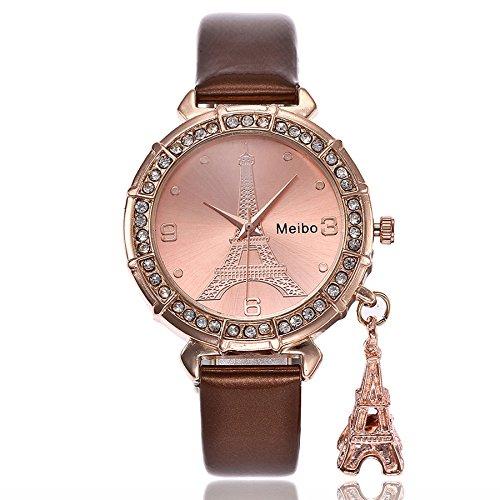 New Trend! Damen Mädchen Analoge Quarz Armbanduhr, Frauen Mode Der Eiffelturm Strass Anhänger Quarzuhr Elegant Classic mit Leder Band 2019 LEEDY
