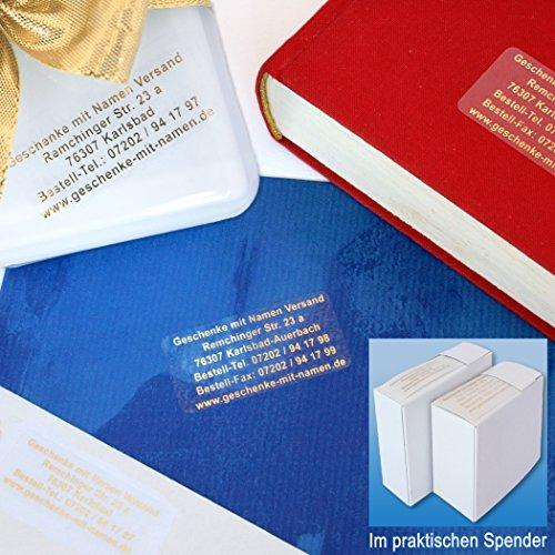 Transparente Etiketten mit Goldschrift, mit Wunschtext, 200 Stück, ca. 51 x 19 mm, für bis zu 5 Zeilen - SEHR EDEL UND HOCHWERTIG