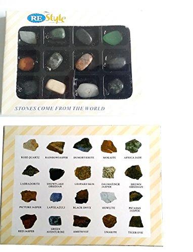 12 Stück Edelstein Anhänger Ketten-Anhänger Heilsteine Trommelsteine mit silberfarbene Öse ca.15-25mm mit u.a. Rosenquarz, African Jade, Tigerauge, Amethyst, Lapis-Lazuli, Jaspis, Onyx, Obsidian