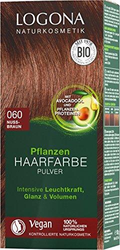 Pulver-haarfarben (LOGONA Naturkosmetik Pflanzen-Haarfarbe Pulver 060 Nussbraun, Vegan & Natürlich, Braune Natur-Haarfarbe mit Henna, Coloration, 100g)