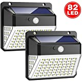 Trswyop Solar Lights Outdoor, 82 LED Solar Motion Sensor Security Lights 2000mAh Solar Powered Lights Waterproof Solar Wall Lights 270º Wide Angle and 180° Sensor LED with 3 Modes for Garden [2 Pack]