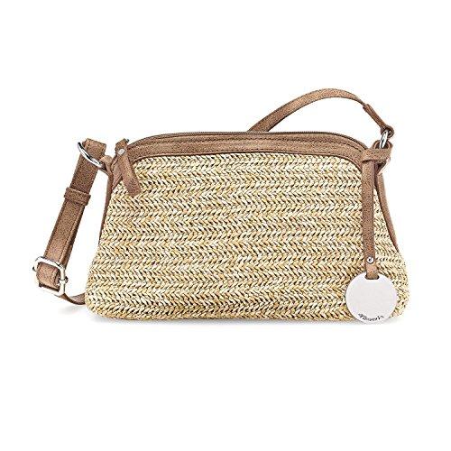 Tamaris Damen Neve Crossbody Bag Umhängetasche, 7x16x19 cm Braun Kombi