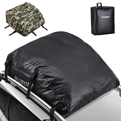 Suaoki Coffre De Toit Voiture 2 En 1 Noir Souple 425 L ( 111,8 x 86,4 x 43,2 cm FBA ) Revêtement Extérieur De Camouflage 600D Nylon Pour Toute Voiture Avec porte-bagages ou Sans Rails