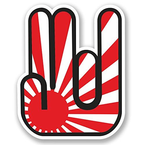 Adesivo in vinile a forma di mano JDM Rock ST # 5350, motivo bandiera giapponese, per iPad, auto o computer portatile, 2 pezzi x 10 cm. Personalizzabile.