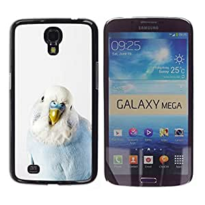 TopCaseStore / Snap On Gummi Schwarz Schutz Hülle Case Cover - Parrot Baby Blue White Bird Tropical - Samsung Galaxy Mega 6.3 I9200 SGH-i527
