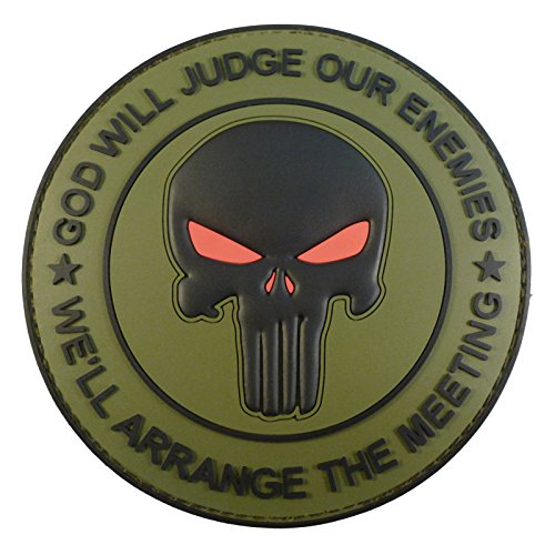 2AFTER1 Olive Drab OD God Will Judge Our Enemies Punisher DEVGRU Navy Seals PVC Touch Fastener Patch