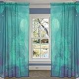 coosun Watercolor Fantasy Night Sky Sheer Vorhang Einsätze Tüll Polyester Voile Fenster Behandlung Panel Vorhänge für Schlafzimmer Wohnzimmer Home Decor, 139,7x 213,4cm, 2Platten Set, Polyester, multi, 55x78x2(in)