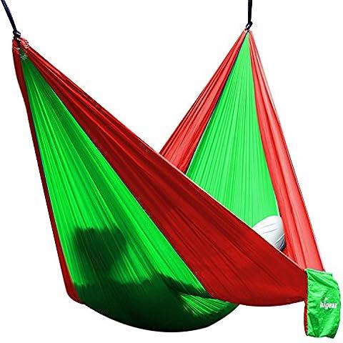 Hamaca de viaje/camping Unigear en tela Nylon de Paracaídas - Alta resistencia, compacto y ultra ligero (Verde claro/rojo, Single)