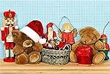 YongFoto 3x2m Vinyl Foto Hintergrund Weihnachtsmütze Geschenke Teddybär Antikes Spielzeug Weihnachtsmann Bilder Holzbrett Fotografie Hintergrund Backdrop Fotostudio Hintergründe Requisiten