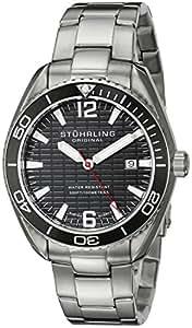 Stuhrling Original Regatta 515 Men's Quartz Watch with Black Dial Analogue Display and Silver Stainless Steel Bracelet 515.02