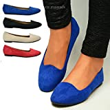 New Ladies Suede Ballet Dolly Pumps Womens Classic Plain Ballerina Flats Girls School Casual Slip On Ballerinas Office Shoes Size UK