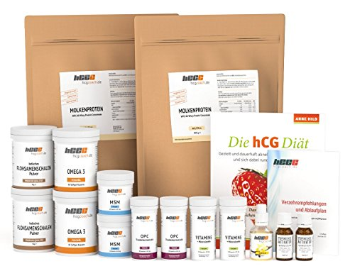 60 Tage hCG-Diät Set mit Molkenprotein WPC 80   hCG Aktivator   Buch   Aromatropfen (vanille) -