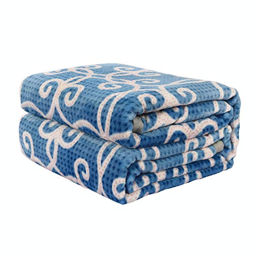 sourcing map Fleece Flanell Luxus Decke, Weiches Plüsch, Blumenmuster Samt Decke für Bett Oder Couch-Twin/Full/Queen Size, Blau, Twin -