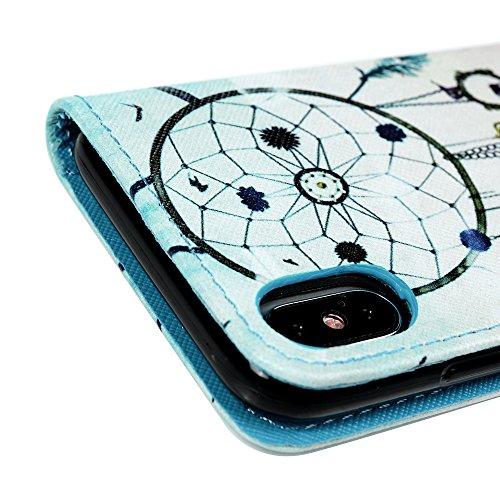 MAXFE.CO Schutzhülle Tasche Case für iPhone X PU Leder Flip Tasche Cover Gemalt Muster im Ständer Book Case / Kartenfach Ananas Traumfänger