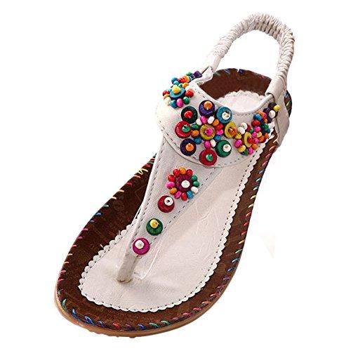TOOGOO(R) Sandali piatti caviglia T-cinghia di modo di tendenza sandali Boemia Tallone piano in rilievo femmina scarpe dimensioni 5 beige Beige