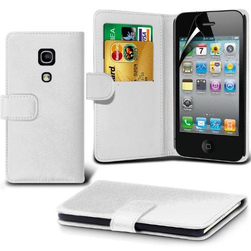 élégant PU Portefeuille en cuir couverture de peau de cas de secousse Avec écran LCD Protecteur Pour Apple iPhone 4 By Spyrox Blanc