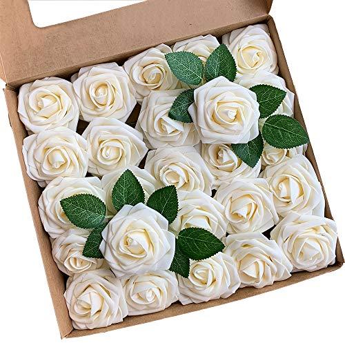 Acde fiori artificiali, rosa artificiali 25 pezzi rose finte schiuma aspetto reale con foglia e gambo regolabile per diy matrimoni mazzi nuziale festa casa stanza decorazioni (champagne)