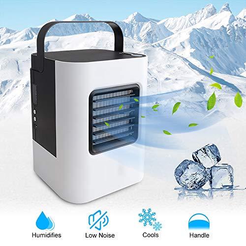 LayOPO Mini Air Ice Cooler, USB Air Conditioner Fan Verdunstungsluftkühler Luftbefeuchter Mit Griff, 3-Fach Verstellbarer Persönlicher Raumkühler Für Büro, Wohnheim, Schlafzimmer Ice-mini-usb -
