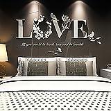 BZline Decoración desprendible elegante del dormitorio de las etiquetas del vinilo del arte de la etiqueta engomada de la pared del AMOR de la hoja 3D (Blanco)