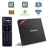 TV Box Android 7.1.2, Jimwey Smart TV 2GB+16GB A7 Quad Core 2.4Ghz CPU 4K UHD X96 Mini Set Top Box, RK3229 64bit with Ultra Fast WiFi Network Media Player
