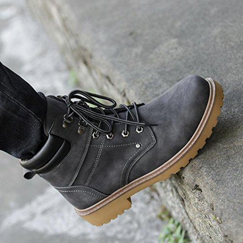 OverDose Mode Männer Niedriger Knöchel Lace-up Trim Flat Knöchel Winter Herbst Stiefel Casual Martin Schuhe Freizeit Schuhe Biker Boots A-Gray