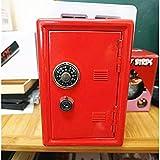 IPOTCH 18cm Tirelire Coffre-fort Organisateur Métallique Double Clés Sécurité Boîtes D'argent De Sécurité - rouge, 11.5x9.5x17.5 cm