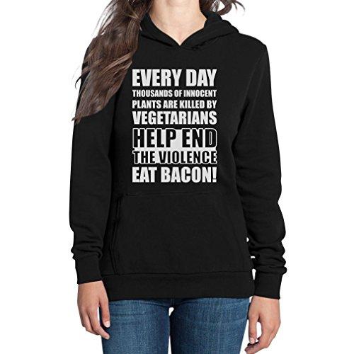 Help End The Violence, Eat Bacon! Damen Kapuzenpullover Hoodie - Vegetarier / Veganer Kleidung Sprüche Schwarz