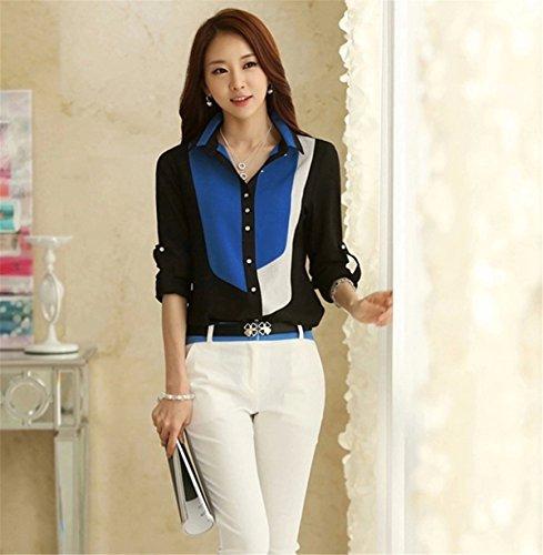 LOBTY Damen Bluse Shirt Arbeits-Hemd-Kragen Langarm OL Sexy Bluseshirt Oberteile Tops Blau