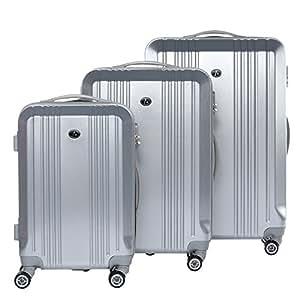 FERGÉ® Dreier Kofferset CANNES Trolley-Koffer Hartschale leicht Hartschale | Set 3-teilig Hartschalenkoffer mit 4 Zwillingsrollen (360°) | Koffer Silber Metal Optik | PREMIUM-QUALITÄT