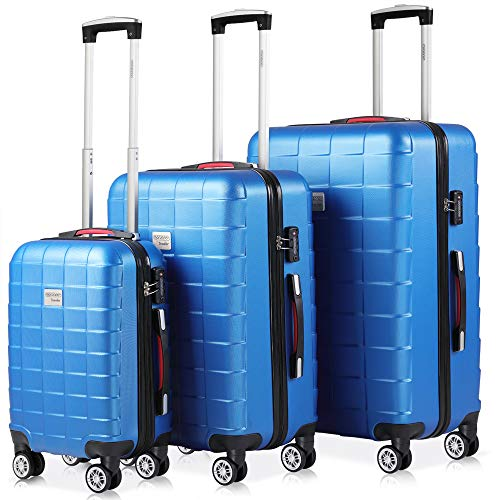 Monzana Hartschalenkoffer Kofferset 3 teilig | M L XL Blau | TSA Schloss | Gel-Griff | Reisekoffer Trolley Koffer Set -