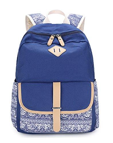 Keshi Leinwand Cool Schulrucksäcke/Rucksack Damen/Mädchen Vintage Schule Rucksäcke mit Moderner Streifen für Teens Jungen Studenten Saphirblau