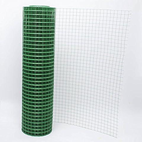 levpet Verde rivestito in PVC recinzione di coniglio rete metallica saldata Pollo, pollame Aviary recinzione Run 25mm dimensioni del foro & # xFF08; 0.9mx30m)