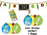 Buntes Dekoset zum Schulanfang - Girlande, Luftballons, Konfetti, Sticker