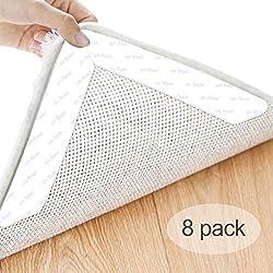 HEYSTOP Anti Derapant Tapis 8PCS, Moquette Stickers Anti-dérapant Tapis Auto-adhésif Autocollant de Tapis pour Cuisine Bureau Salon Accessoires(Blanc)